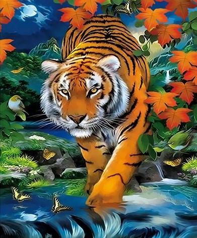 Картина по номерам 20x30 Тигр в ночном осеннем лесу